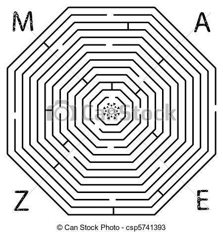 Teckningar av labyrint, oktogon.