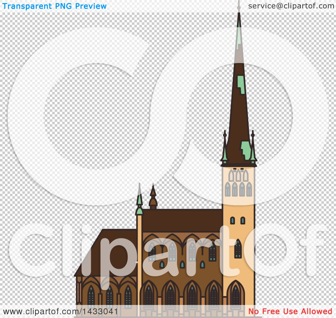 Clipart of a Line Drawing Styled Estonia Landmark, Saint Olaf.