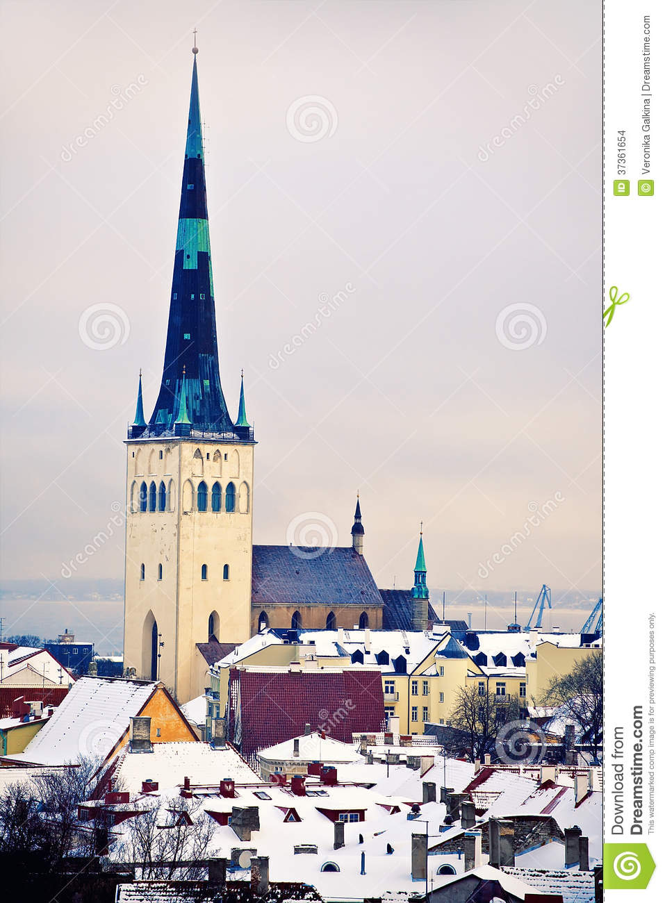 View Of Saint Olaf Church, Tallinn, Estonia Stock Images.