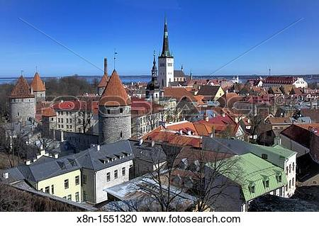 Stock Photography of St Olaf's church, Historic Centre Old Town.