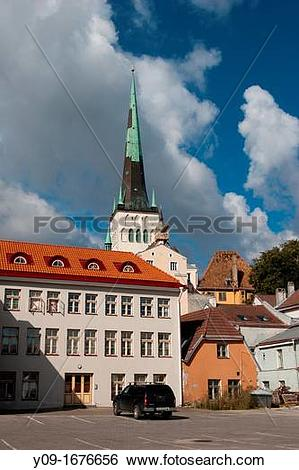 Stock Images of St Olaf's church Oleviste kirik, Old Town, Tallinn.