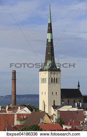 Stock Images of St. Olaf's Church, Oleviste Kirik, seen from the.