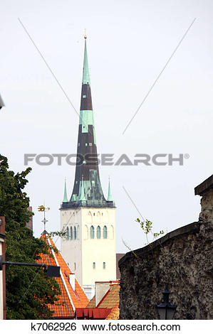 Stock Images of St. Olaf's church (Oleviste Kirik) in Tallinn.