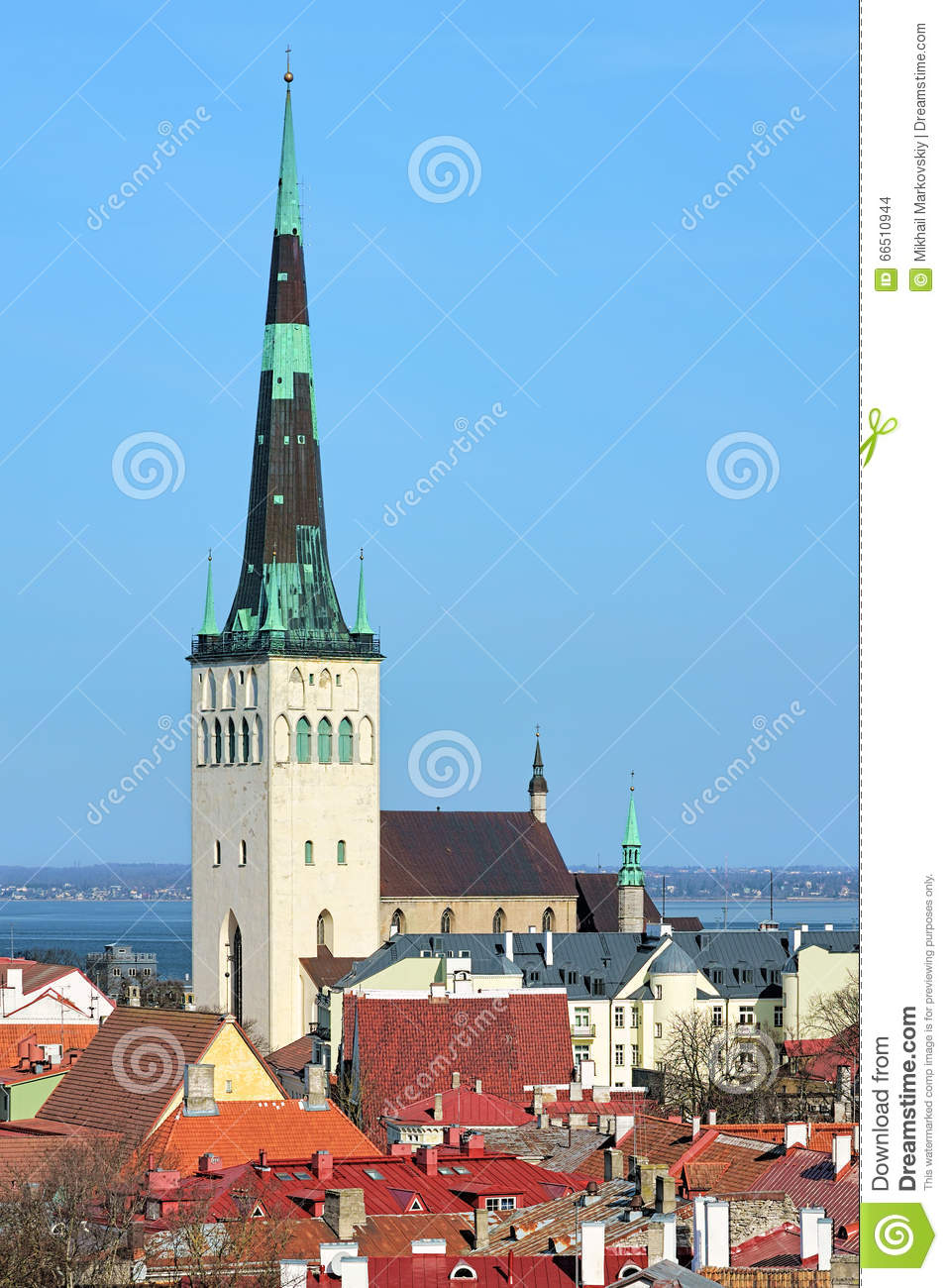 View Of The St. Olaf's Church In The Tallinn Old Town, Estonia.