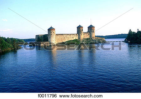 Stock Images of Finland, Savonlinna, Olavinlinna castle f0011796.