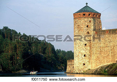 Stock Photography of Finland, Savonlinna, Olavinlinna castle.