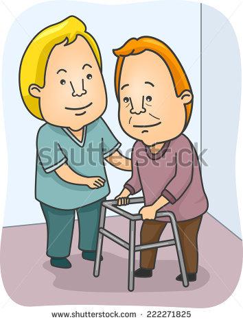 Cartoon Vector Illustration Nurse Helping Old Stock Vector.
