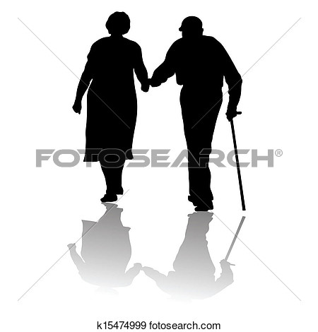 Old age couple clipart.