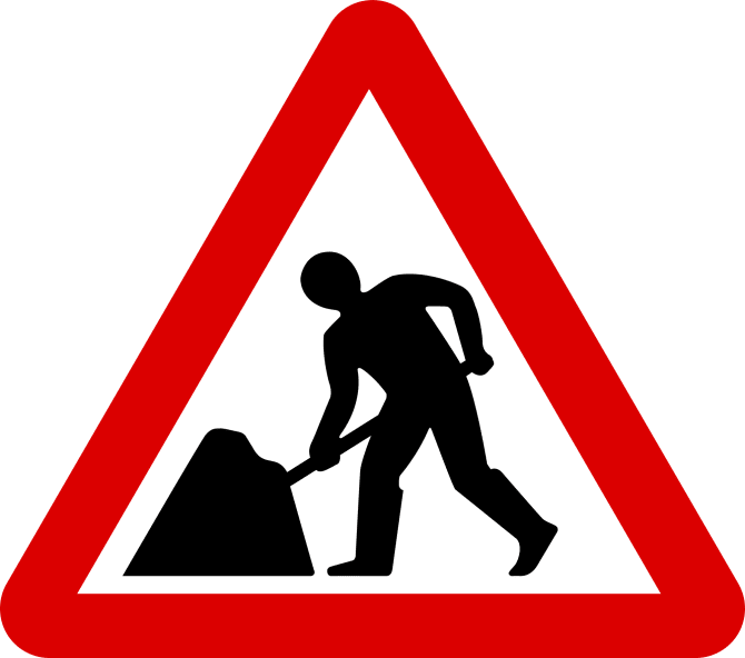 Roadworks on Old Airport Way.
