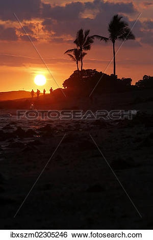"""Stock Images of """"Sunset, Old Airport Beach, Kailua."""