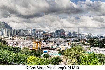 Stock Photography of Urban Development at Hong Kong's Old Airport.