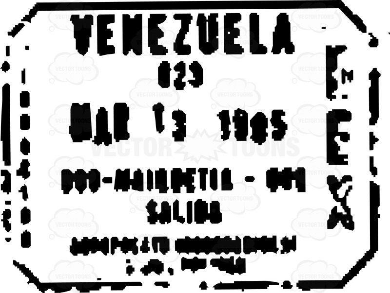 Venezuela, South America Black And White Passport Travel Stamp.