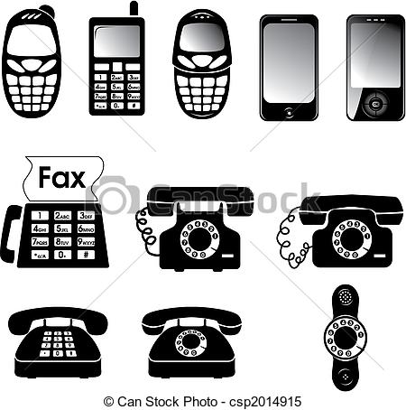 Clipart Vector of Phones.