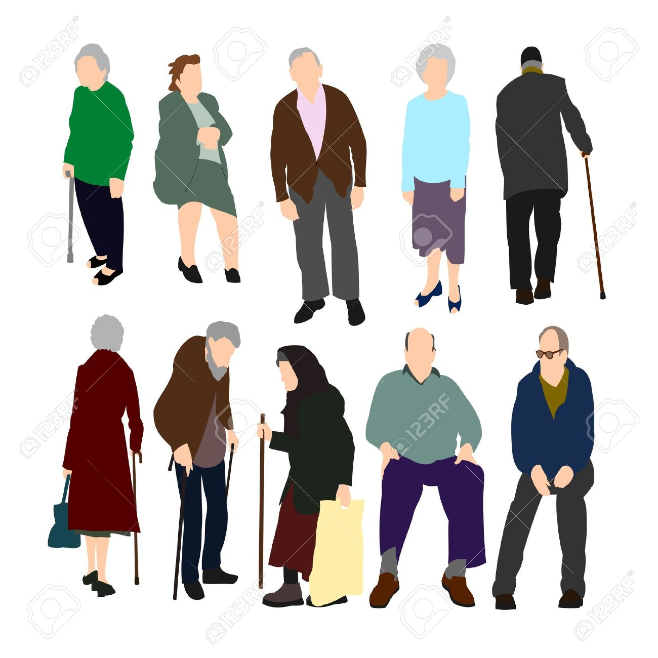 Old People Set No.1. Royalty Free Cliparts, Vectors, And Stock.