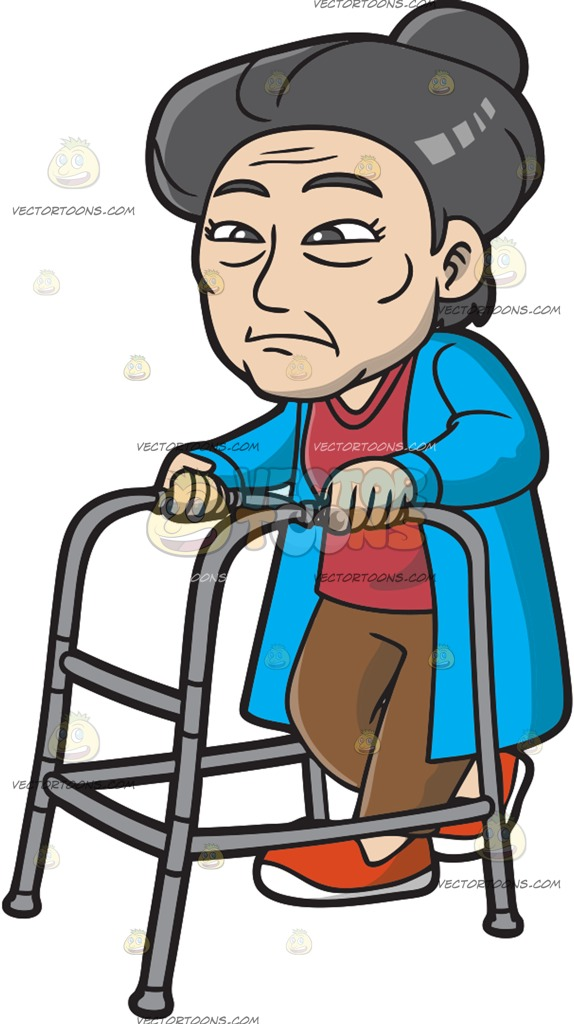 An Old And Weak Asian Woman Cartoon Clipart.