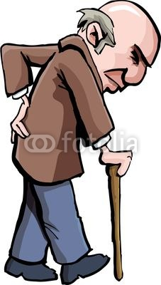 Wall mural cartoon of old man with a walking stick.