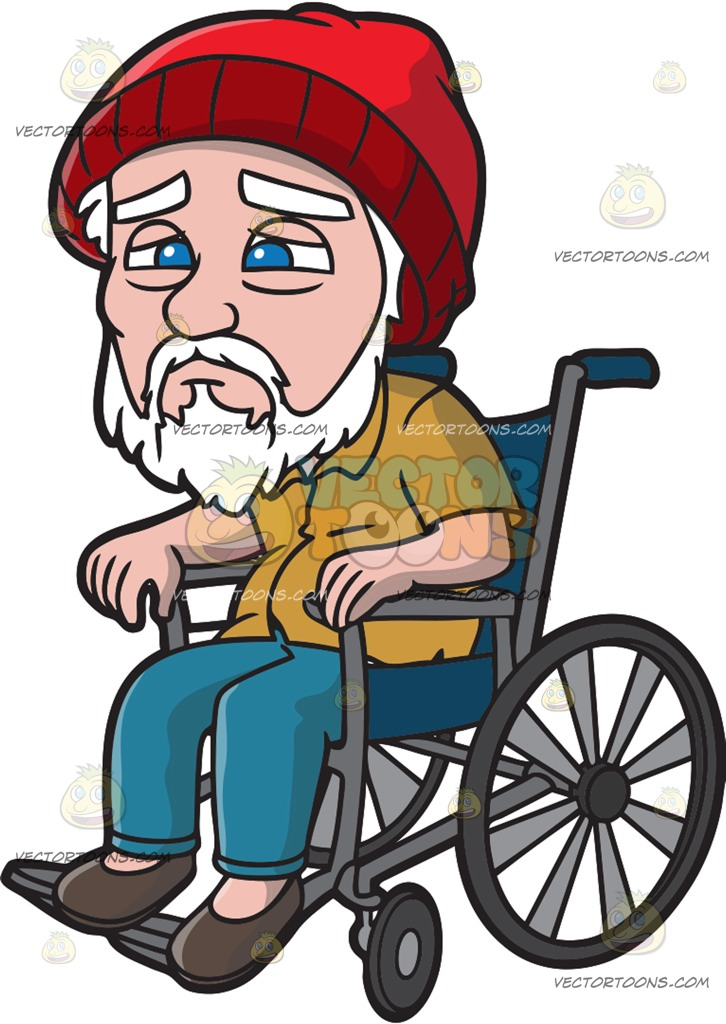 A Weak Old Man In A Wheelchair Cartoon Clipart.
