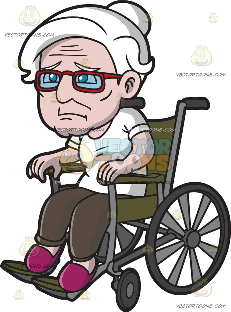 A Weak Old Woman In A Wheelchair Cartoon Clipart.