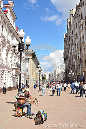 Moscow, Pussia, Musition On Old Arbat Street In Summer Editorial.