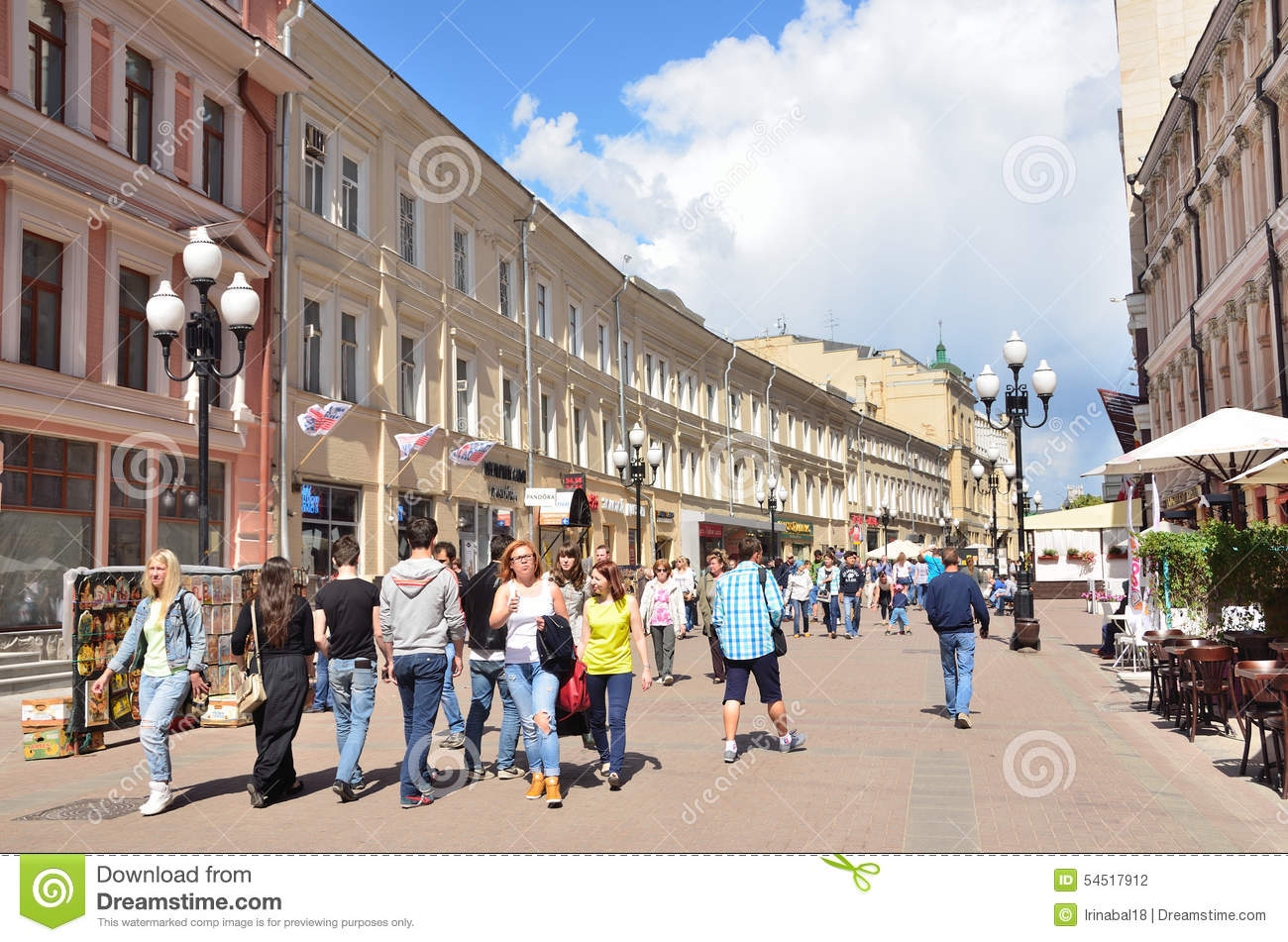 People On Old Arbat Street In Moscow Editorial Image.