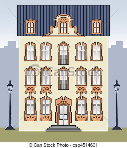 Vector Clip Art of Romantic old house.