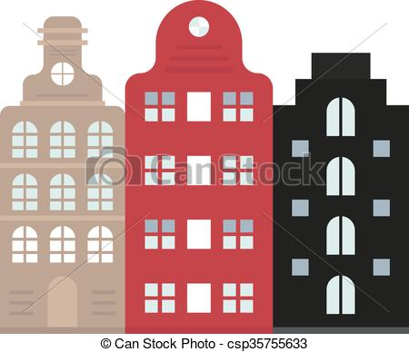 Vectors of Traditional old buildings Amsterdam house netherlands.