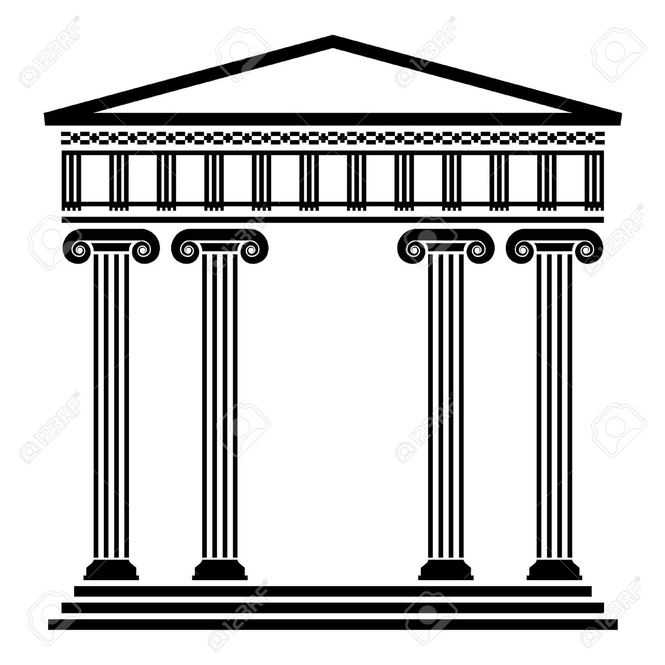 Vector Ancient Greek Architecture With Columns Royalty Free.
