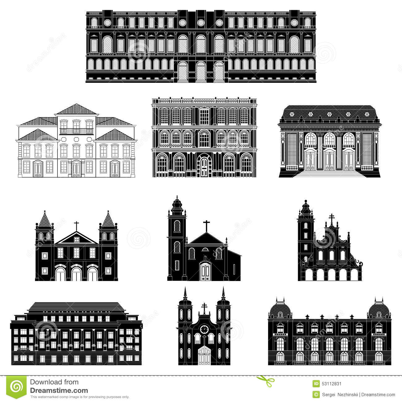Vector Illustration Old Architecture Stock Illustration.