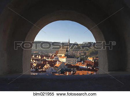 Stock Image of Archway to an Old World Cityscape blm021955.