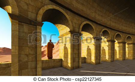 Drawing of Ancient archway in The old house csp22127345.
