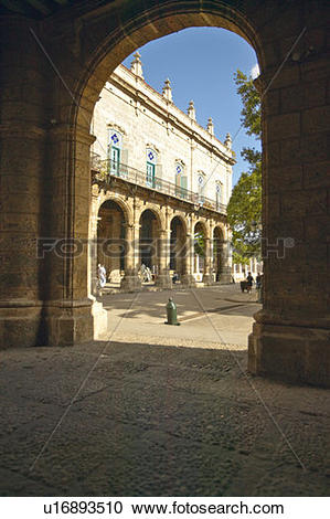 Stock Photography of Historic Spanish archways in Old Havana.