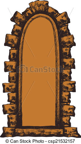 Clipart Vector of Old window with a stone archway, hand.