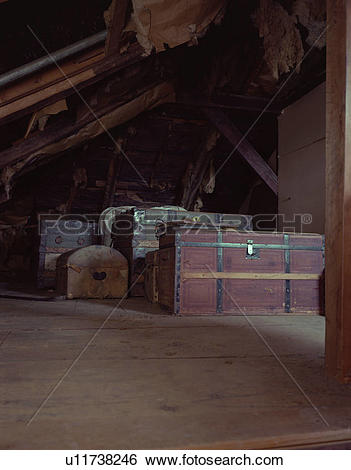 Stock Images of Old Chests in an Attic u11738246.