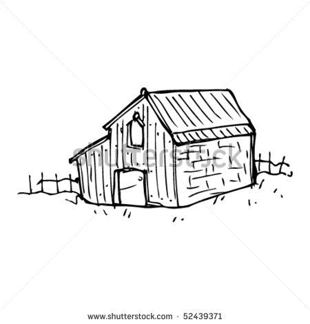 Sketch of Barn Clip Art.
