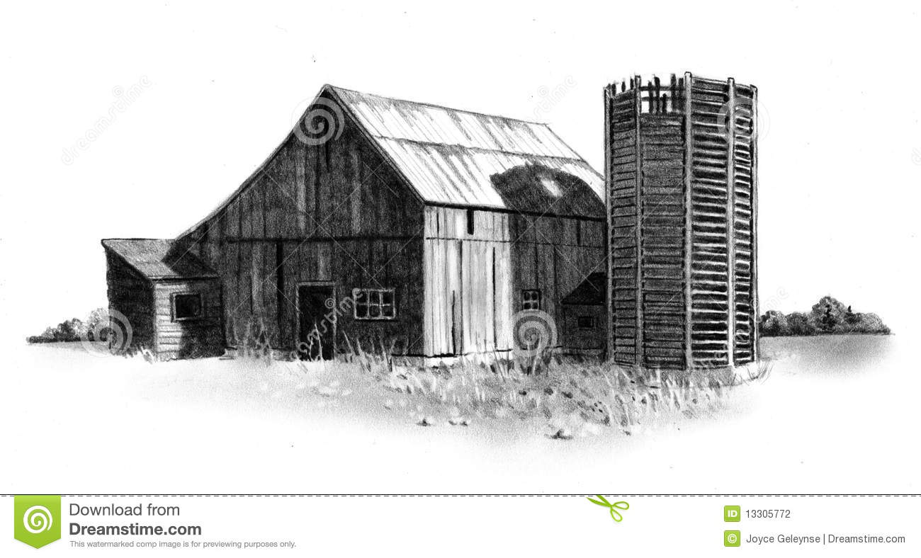 Old Barn Drawing Clipart.