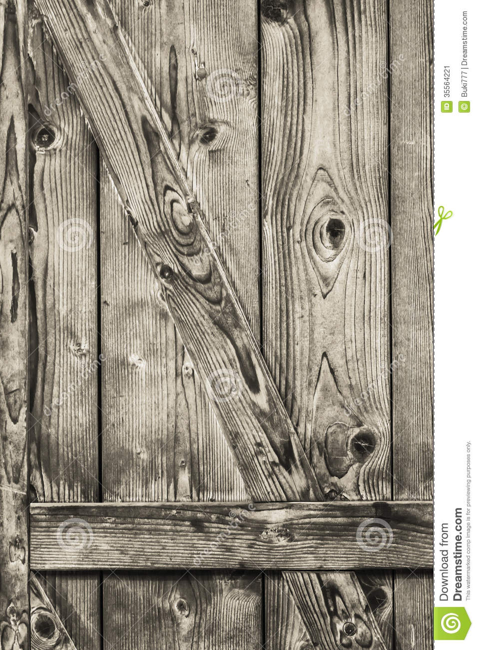 Antique Rustic Pine Wood Barn Door.