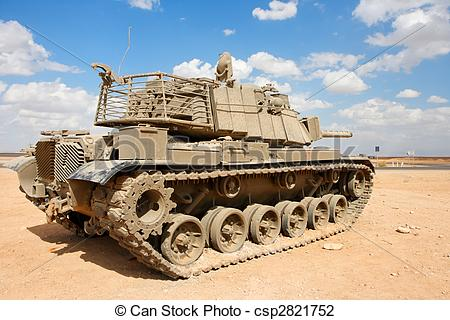 Stock Photo of Old Israeli Magach tank near the military base in.