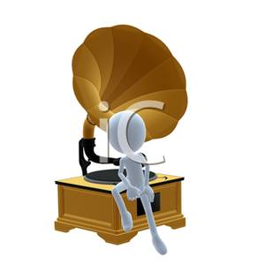 3D Man Sitting on the Base of an Old Record Player.