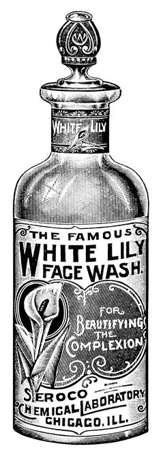 aged paper ephemera, black and white clip art, old catalogue page.