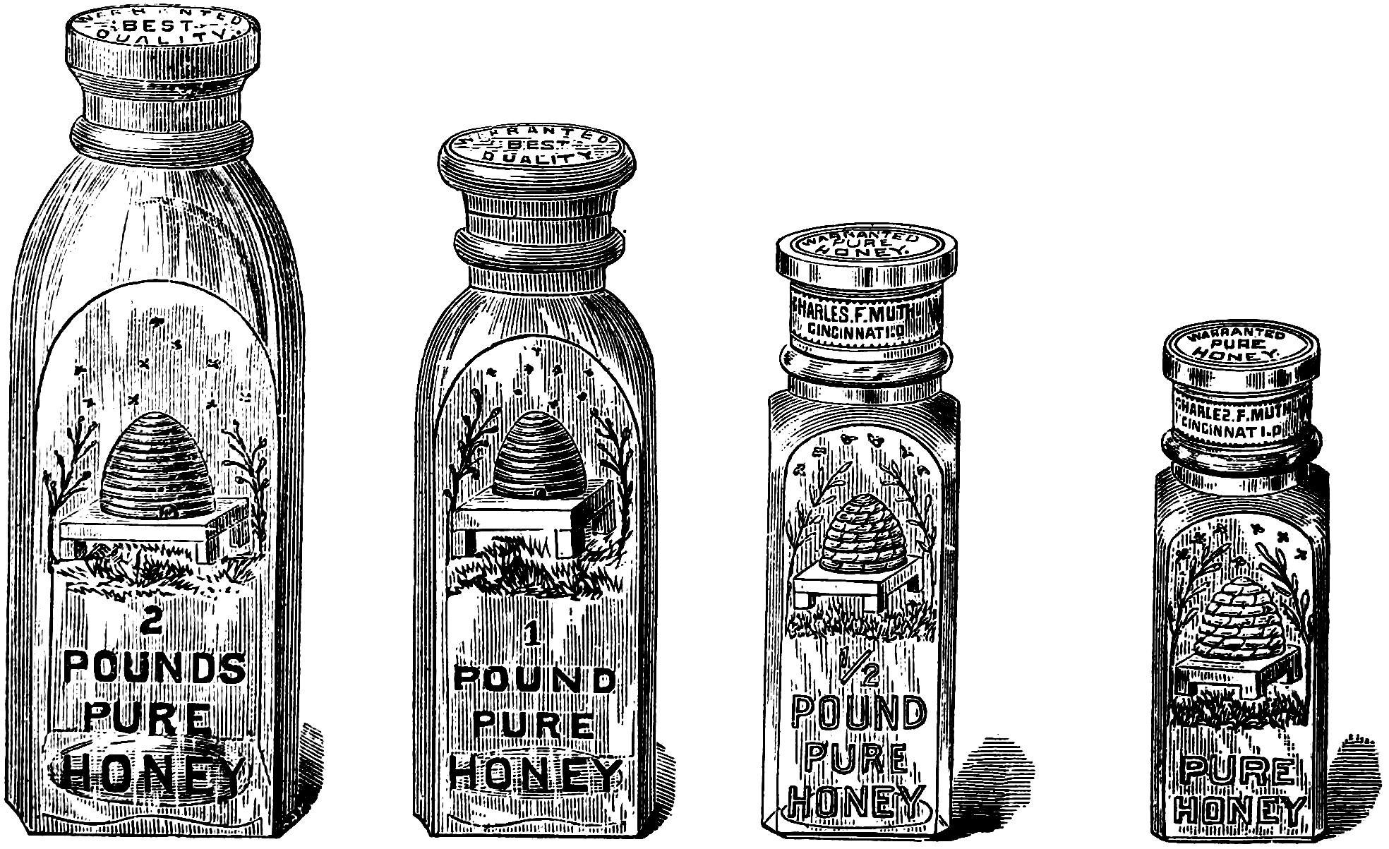Free Vintage Honey Jar Clipart.