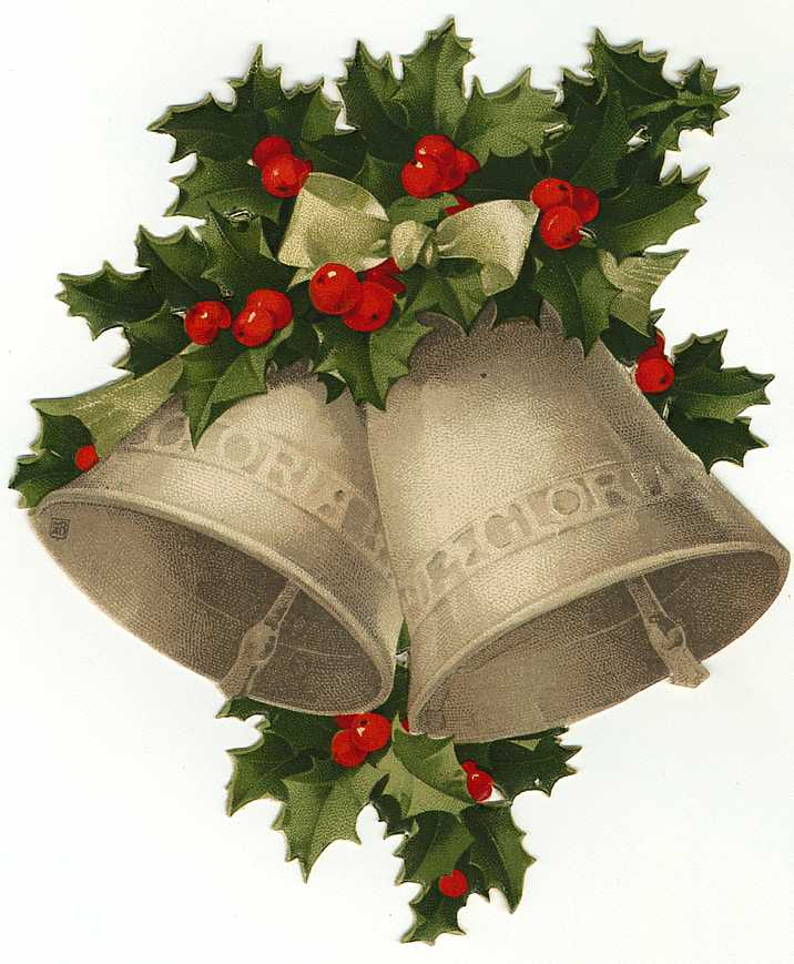 Vintage Christmas Bell Clipart.