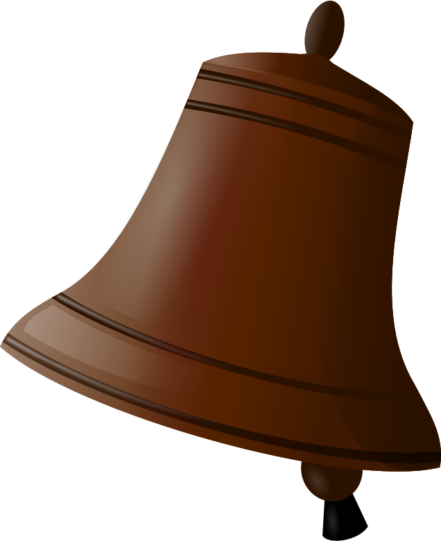 Brown animated school bell clipart.