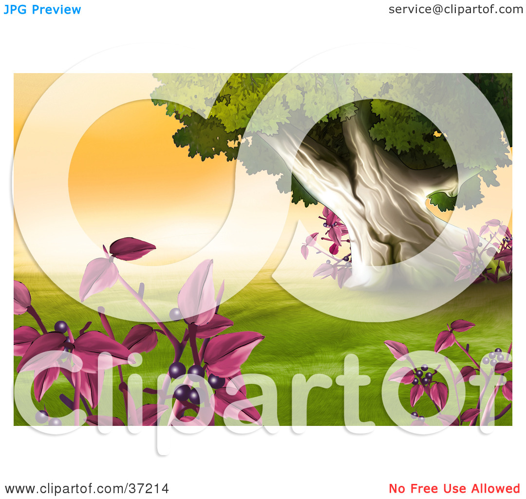 Clipart Illustration of Plants With Purple Berries Framing A Scene.