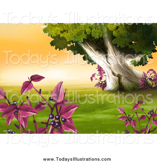 Clipart of a Plants with Purple Berries and a Scene of Green.