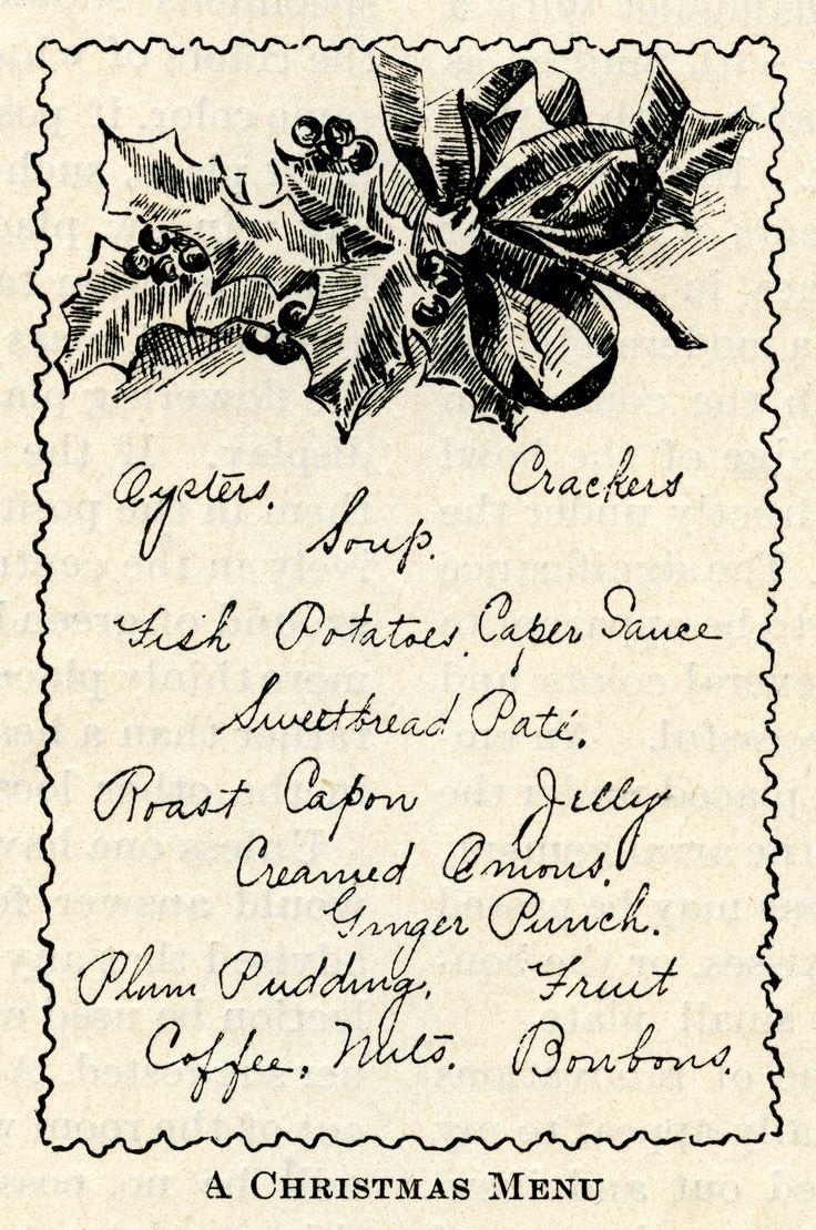 vintage Christmas menu, holly berries clip art, black and white.