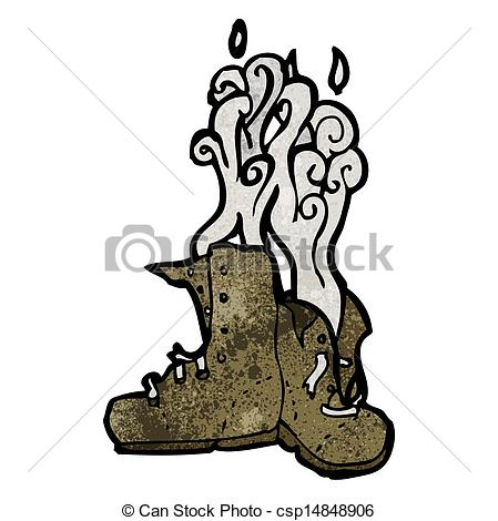 Vector Clipart of smelly old boots cartoon csp14848906.