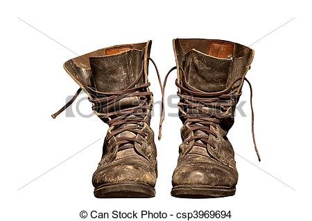 Stock Photo of Old worn soldiers work boots.