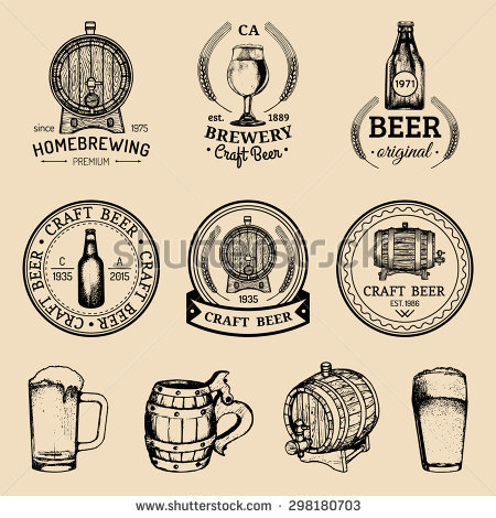 Old Brewery Logos Set Kraft Beer Stock Vector 312220961.