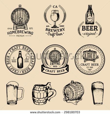 Old Brewery Logos Set Kraft Beer Stock Vector 312220961.