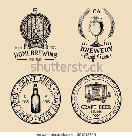 Old Brewery Logos Set Kraft Beer Stock Vector 298180703.